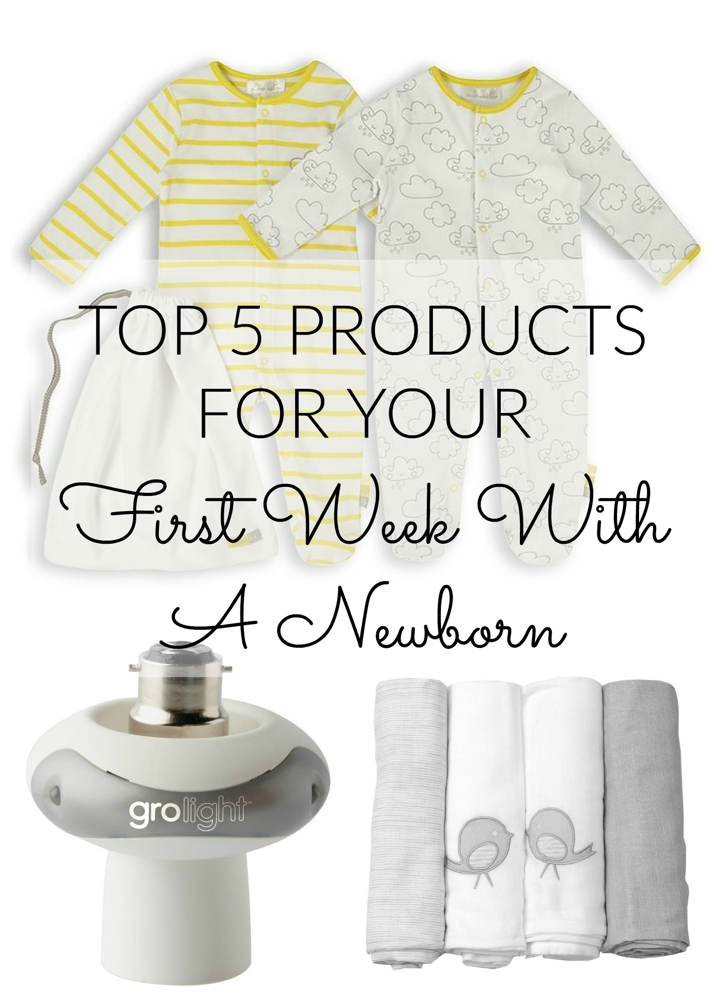 top 5 newborn products pin