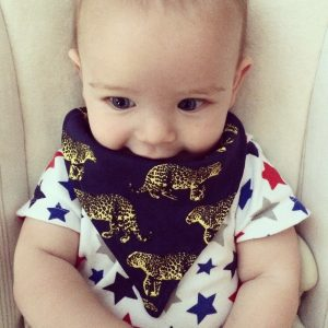 midnight leopard baby dribble scarf
