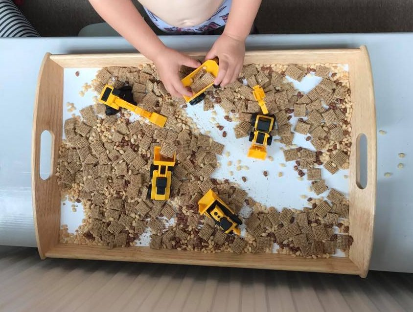 diggers and cereal - messy play with food
