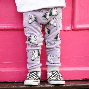 printed leggings purple unicorn
