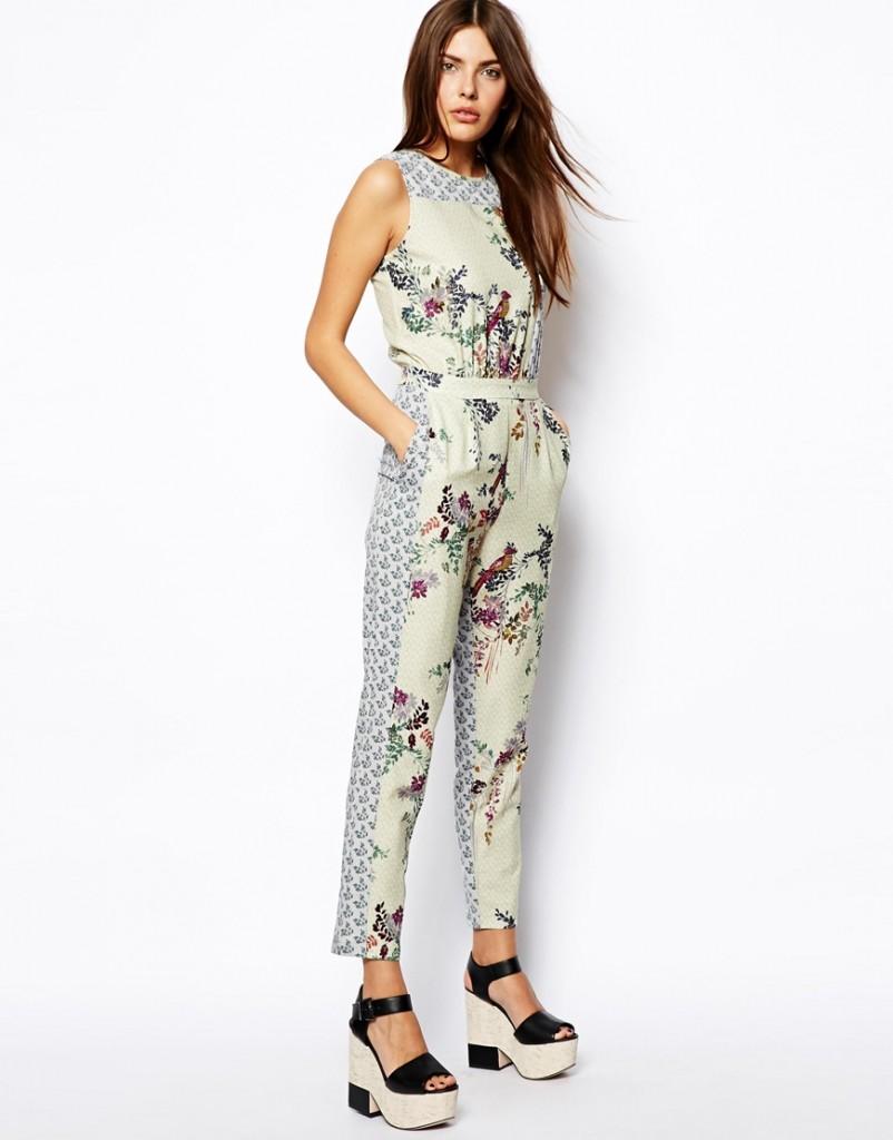 floral bird jumpsuit