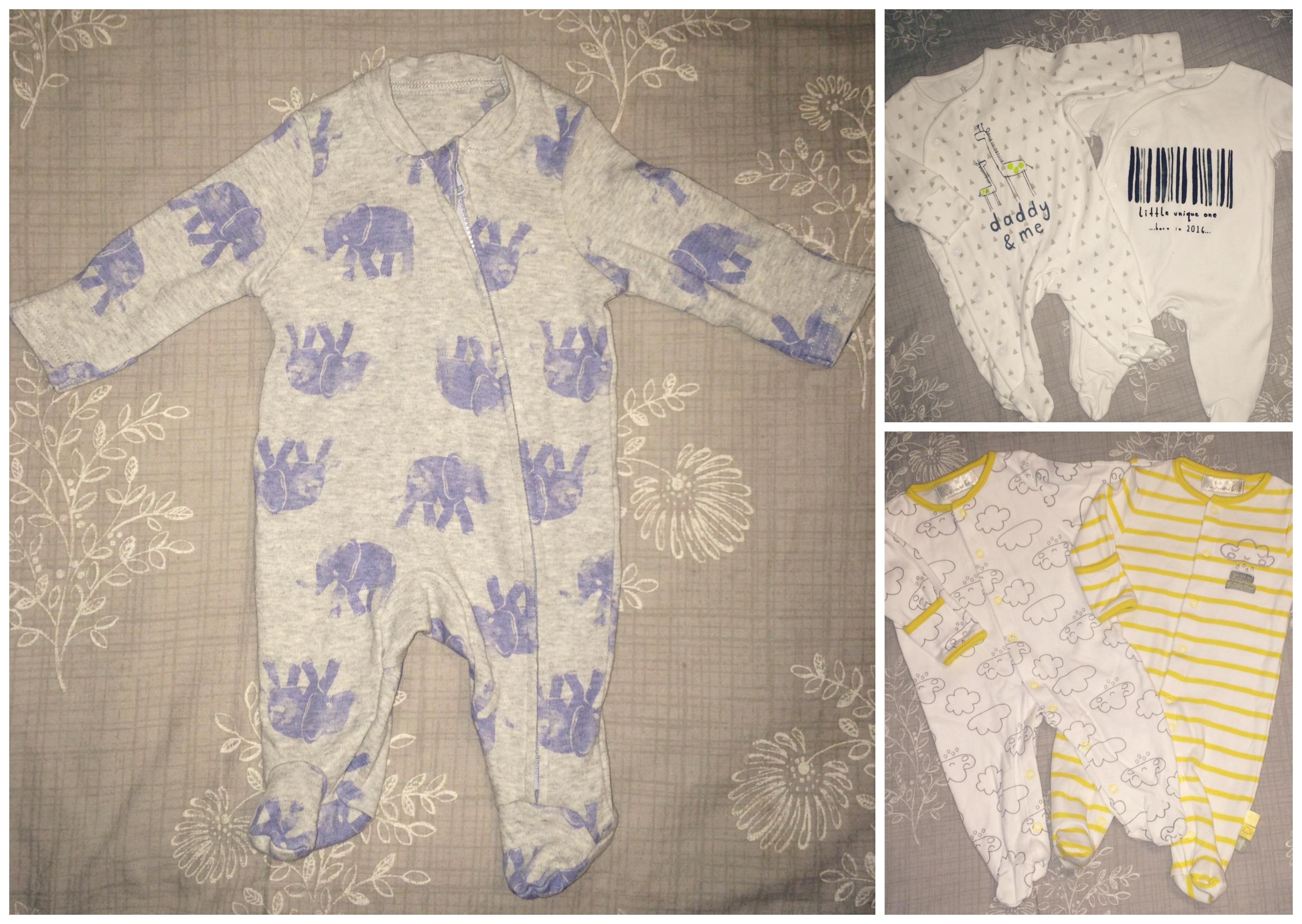 baby hospital bag sleepsuits