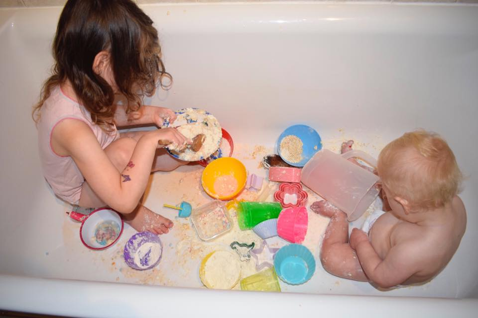 messy play with food - fun in the bath!
