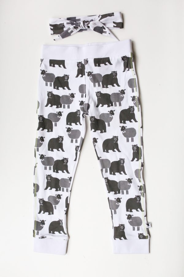 lamb bear cotton printed leggings flat