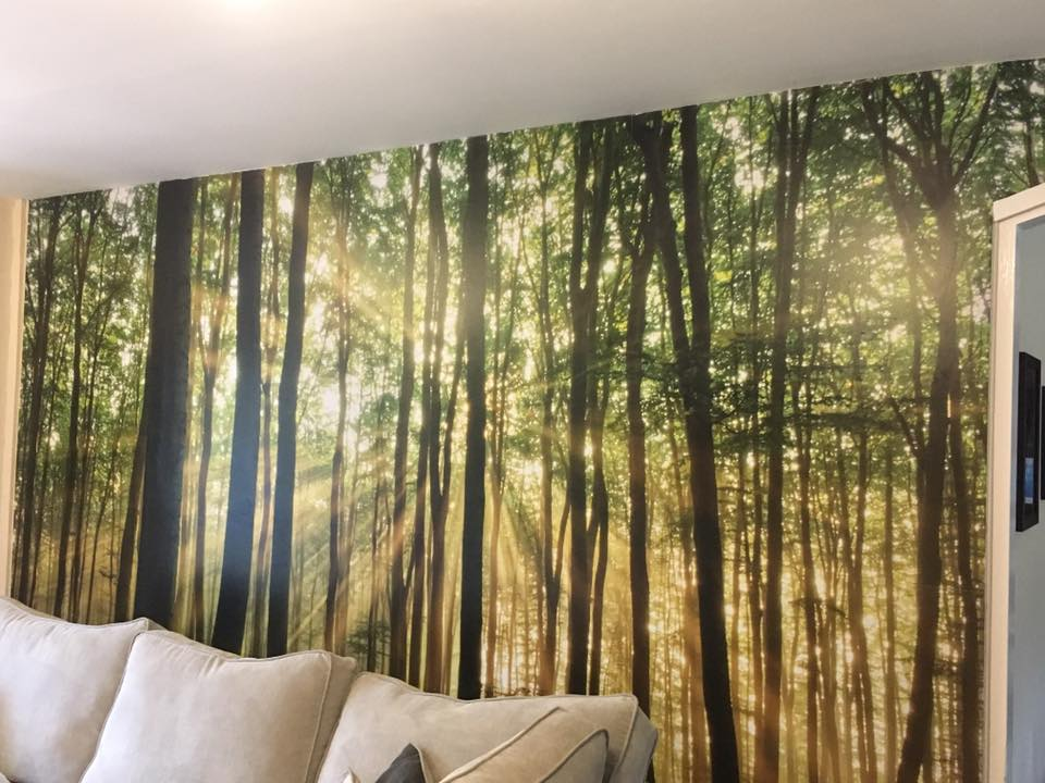 feature wall trees