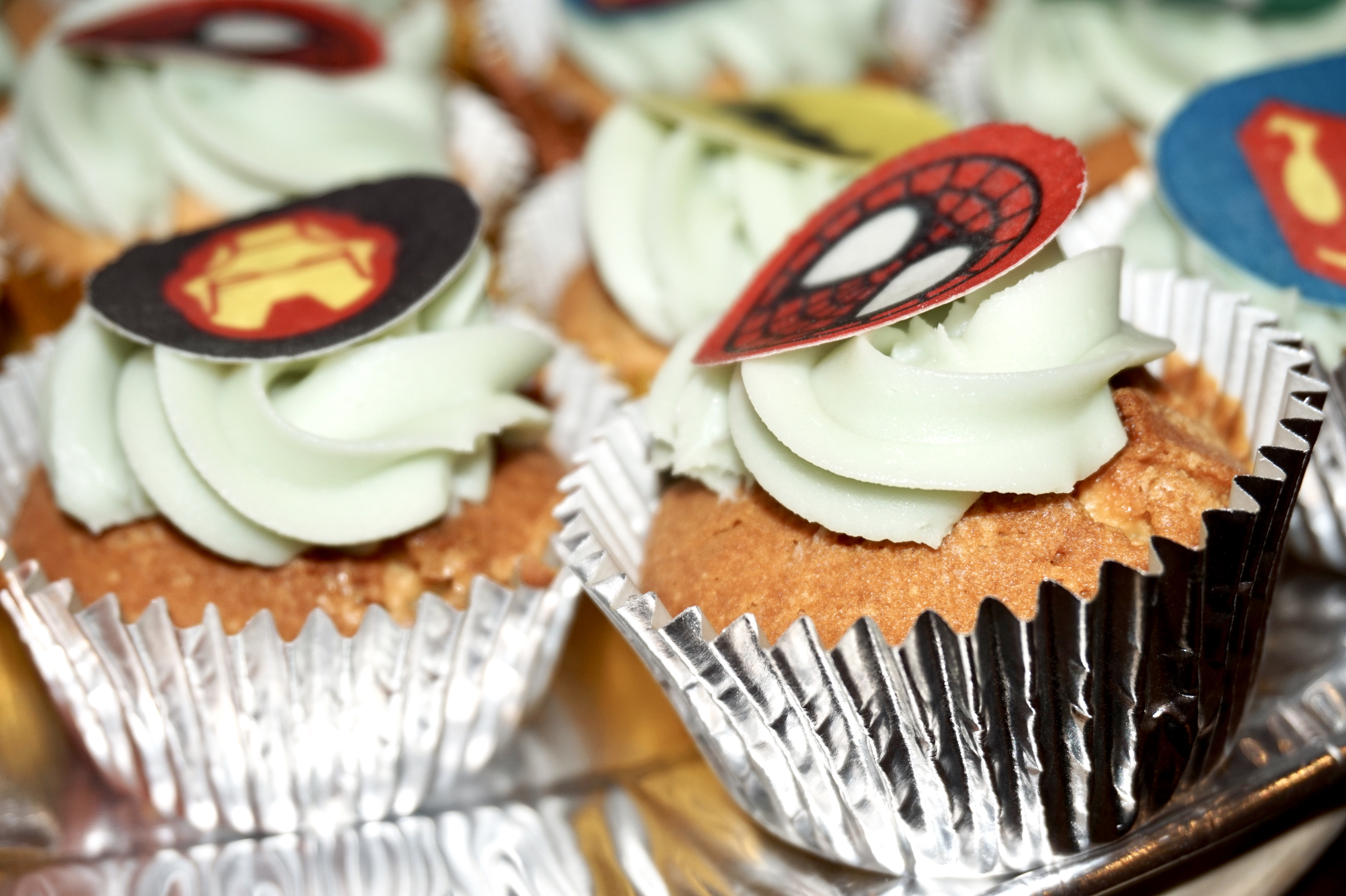 baking superhero cupcakes